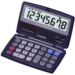Calculadora de bolsillo doble hoja casio sl-100ver 8 dígitos.