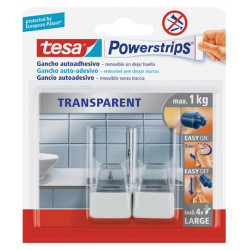 Clavos adhesivos Tesa ajustables para superficies delicadas.