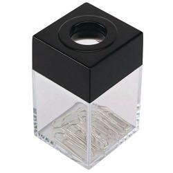 Portaclips de plástico imantado q-connect cuadrado en color transparente/negro.