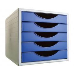 Archivador modular archivotec serie 4000 ref. 4005 de 5 cajones en color gris / azul.
