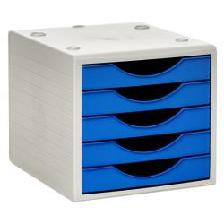 Archivador modular archivotec serie 4000 ref. 4005 de 5 cajones en color gris / azul mar.