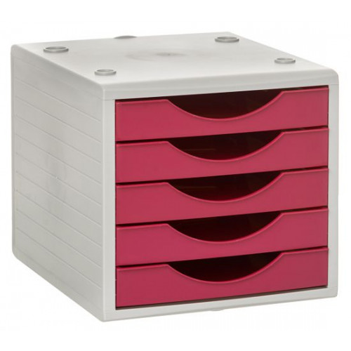 Archivador modular archivotec serie 4000 ref. 4005 de 5 cajones en color gris / fucsia.