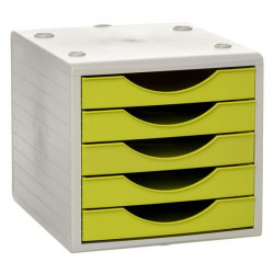 Archivador modular archivotec serie 4000 ref. 4005 de 5 cajones en color gris / verde kiwi.