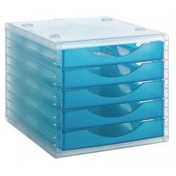 Archivador modular archivotec serie 4000 ref. 4005 tl de 5 cajones en color azul mar traslúcido.