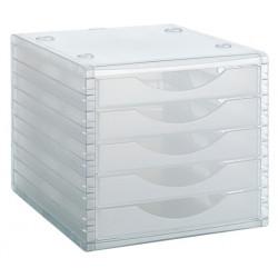 Archivador modular archivotec serie 4000 ref. 4005 tl de 5 cajones en color cristal translúcido.
