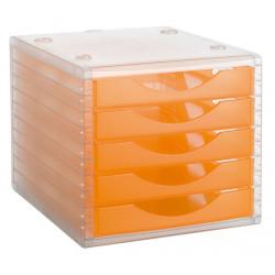 Archivador modular archivotec serie 4000 ref. 4005 tl de 5 cajones en color naranja translúcido.