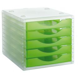 Archivador modular archivotec serie 4000 ref. 4005 tl de 5 cajones en color verde kiwi translúcido.
