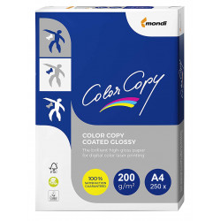 Papel color copy coated glossy en formato din a-4 de 200 grs. paquete de 250 hojas.