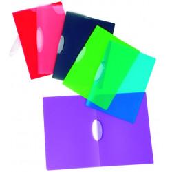 Expositor de 25 dossiers con pinza en polipropileno translúcido para 30 hojas viquel v-clip en din a-4 de colores surtidos.
