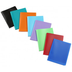 Carpeta con 20 fundas transparentes fijas de polipropileno viquel en din a-4 de colores surtidos.