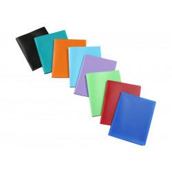 Carpeta con 40 fundas transparentes fijas de polipropileno viquel en din a-4 de colores surtidos.