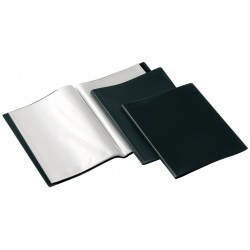 Carpeta con 50 fundas transparentes fijas de polipropileno viquel en din a-4 de color negro.