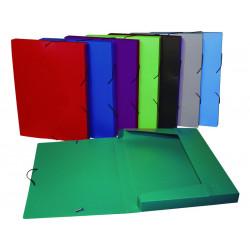 Carpeta de proyectos en polipropileno con gomas y lomo de 30 mm. viquel en din a-4 de colores surtidos.