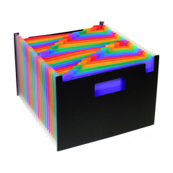 Organizador de fuelle extensible viquel rainbow class horizontal con 24 departamentos en din a-4 de color negro.