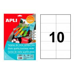 Blister de 10 hojas en din a-4 de tarjetas de visita apli first class glossy para impresora ink-jet de 89x51 mm.