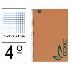 Cuaderno espiral tapa blanda liderpapel serie ecouse en formato 4º, 80 hj. 60 grs. 4x4 c/m.