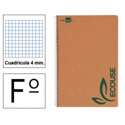 Cuaderno espiral tapa blanda liderpapel serie ecouse en formato fº, 80 hj. 60 grs. 4x4 c/m.