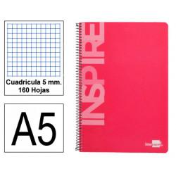 Cuaderno espiral tapa dura liderpapel serie inspire en formato din a-5, 160 hj. 60 grs. 5x5 c/m. 6 taladros. 5 colores de banda.