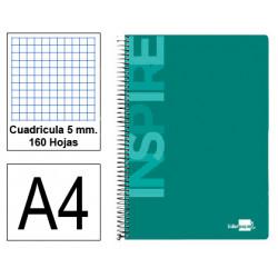Cuaderno espiral tapa dura liderpapel serie inspire en formato din a-4, 160 hj. 60 grs. 5x5 c/m. 4 taladros. 5 colores de banda.