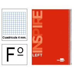 Cuaderno espiral tapa dura liderpapel serie inspire para zurdos en formato fº, 80 hj. 60 grs. 4x4 c/m. 8 colores surtidos.