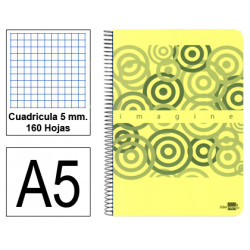 Cuaderno espiral tapa de plástico liderpapel serie imagine en formato din a-5, 160 hj. 60 grs. 5x5 c/m. 6 taladros.