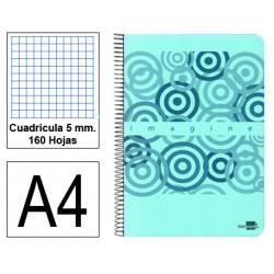 Cuaderno espiral tapa de plástico liderpapel serie imagine en formato din a-4, 160 hj. 60 grs. 5x5 c/m. 4 taladros.