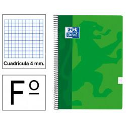 Cuaderno espiral tapa blanda oxford classic en formato fº, 80 hj. 90 grs. 4x4 c/m. 5 colores vivos surtidos.