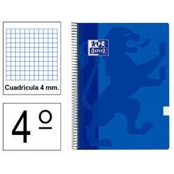 Cuaderno espiral tapa blanda oxford classic en formato 4º, 80 hj. 90 grs. 4x4 c/m. 5 colores vivos surtidos.