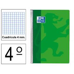 Cuaderno espiral tapa extradura oxford classic en formato 4º, 80 hj. 90 grs. 4x4 c/m. 4 colores vivos surtidos.
