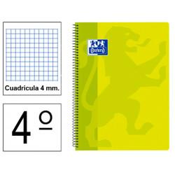 Cuaderno espiral tapa de plástico oxford classic en formato 4º, 80 hj. 90 grs. 4x4 c/m. 5 colores vivos surtidos.