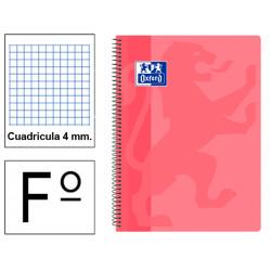 Cuaderno espiral tapa de plástico oxford classic en formato fº, 80 hj. 90 grs. 4x4 c/m. 5 colores tendencia surtidos.