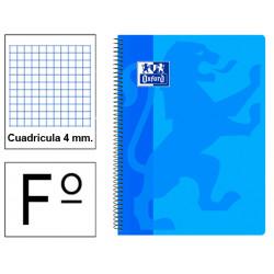 Cuaderno espiral tapa de plástico oxford classic en formato fº, 80 hj. 90 grs. 4x4 c/m. 5 colores vivos surtidos.