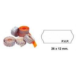 Etiqueta ondulada p.v.p. para etiquetadoras meto, 1 línea, 26x12 mm. rollo de 1.500 uds. en color blanco.