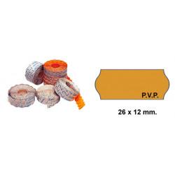 Etiqueta ondulada p.v.p. para etiquetadoras meto, 1 línea, 22x12 mm. rollo de 1.500 uds. en color flúor naranja.