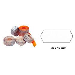 Etiqueta ondulada para etiquetadoras meto, 1 línea, 26x12 mm. rollo de 1.500 uds. en color blanco.