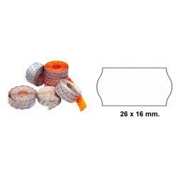 Etiqueta ondulada para etiquetadoras meto, 2 líneas, 26x16 mm. rollo de 1.500 uds. en color blanco.