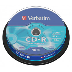 Cd-r verbatim 700 mb 52x 80 min superficie extra protection, 10 pack spindle.