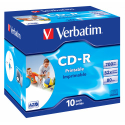 Cd-r verbatim azo 700 mb 52x 80 min superficie wide ink-jet printable, jewel case.