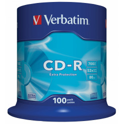 Cd-r verbatim 700 mb 52x 80 min superficie extra protection, 100 pack spindle.