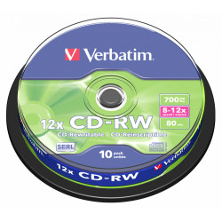 Cd-rw verbatim serl 700 mb 8-12x 80 min superficie scratch resistant, 10 pack spindle.