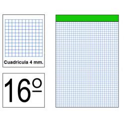Bloc de notas, lomo encolado, perforado, sin tapa liderpapel en formato 16º, 80 hj. 60 grs. 4x4 s/m.
