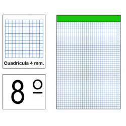 Bloc de notas, lomo encolado, perforado, sin tapa liderpapel en formato 8º, 80 hj. 60 grs. 4x4 s/m.