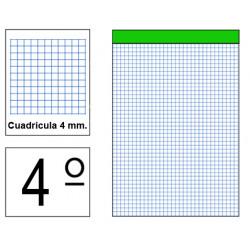 Bloc de notas, lomo encolado, perforado, sin tapa liderpapel en formato 4º, 80 hj. 60 grs. 4x4 s/m.