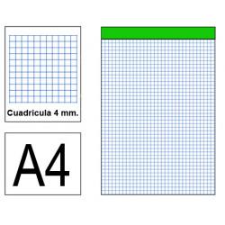 Bloc de notas, lomo encolado, perforado, sin tapa liderpapel en formato din a-4, 80 hj. 60 grs. 4x4 s/m.