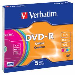 Dvd-r verbatim azo 4,7 gb 16x 120 min superfice colour, 5 pack slim case.