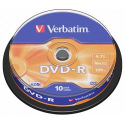 Dvd-r verbatim azo 4,7 gb 16x 120 min superficie matt silver, 10 pack spindle.