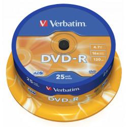 Dvd-r verbatim azo 4,7 gb 16x 120 min superficie matt silver, 25 pack spindle.