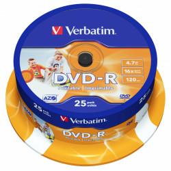 Dvd-r verbatim azo 4,7 gb 16x 120 min superficie wide ink-jet printable, 25 pack spindle.