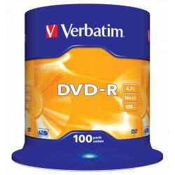 Dvd-r verbatim azo 4,7 gb 16x 120 min superfice matt silver, 100 pack spindle.