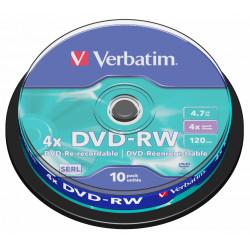 Dvd-rw verbatim serl 4,7 gb 4x 120 min superficie matt silver, 10 pack spindle.